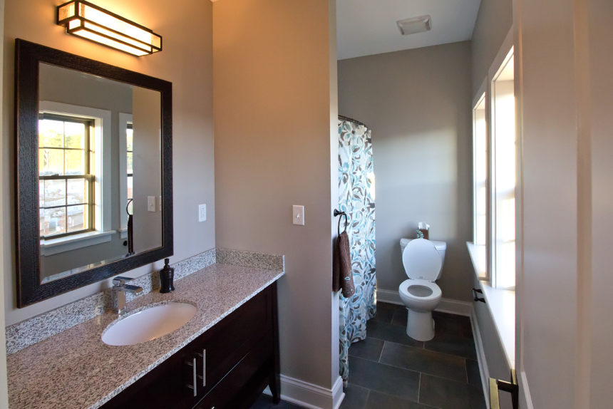 "Master bathroom in ""The Empire"" apartment unit at The Lofts At Saratoga"