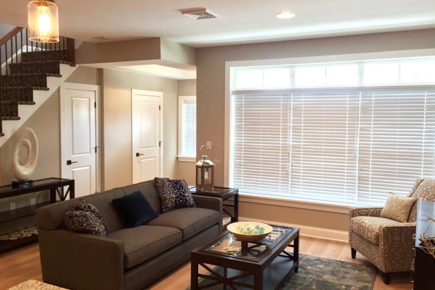 "Living room in ""Paddocks"" unit at The Lofts At Saratoga"