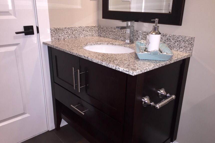 "Bathroom sink in master bathroom in ""Paddocks"" unit at The Lofts At Saratoga"