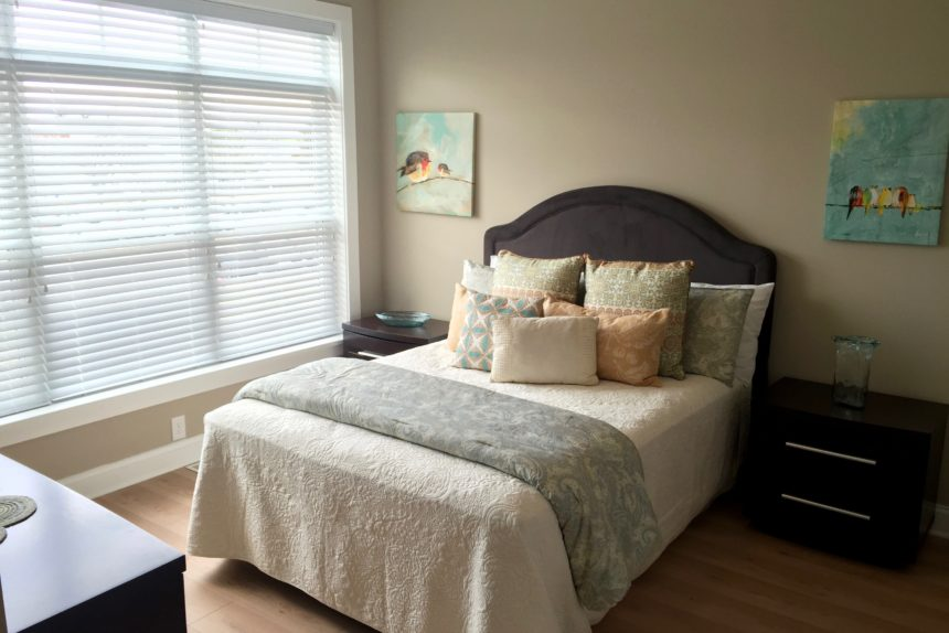 "Master bedroom in ""Paddocks"" unit at The Lofts At Saratoga"