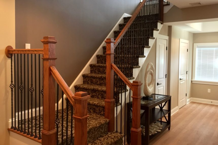 """View of staircase from the bottom in """"Paddocks"""" unit at The Lofts At Saratoga"""