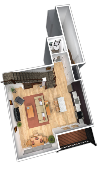 """Unit B & D first floor plans in """"The Empire"""" apartment unit at The Lofts At Saratoga"""