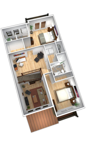 "Unit B & D second floor plans in ""The Empire"" apartment unit at The Lofts At Saratoga"
