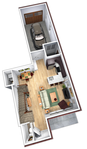 """Unit C first floor plans in """"Paddocks"""" unit at The Lofts At Saratoga"""