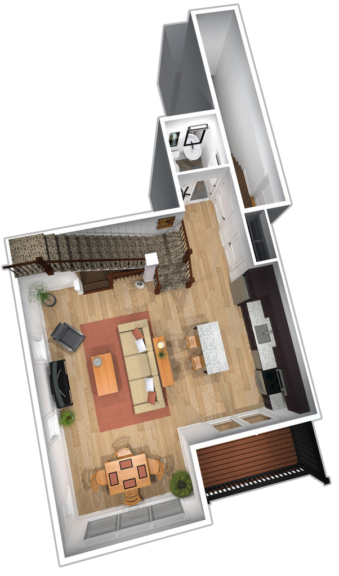 "Unit B & D first floor plans in ""The Empire"" apartment unit at The Lofts At Saratoga"
