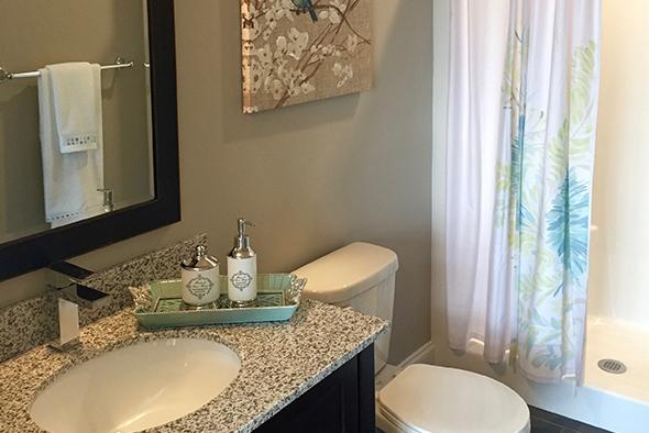 "Master bathroom in ""Paddocks"" unit at The Lofts At Saratoga"
